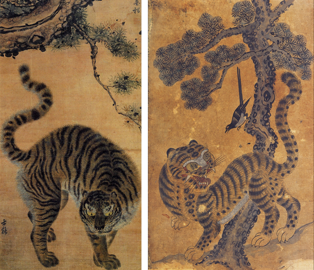Tiger and magpie folk painting of Korea
