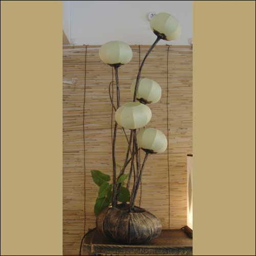 floor lamp with paper shade five windflower buds this floor lamp with. Black Bedroom Furniture Sets. Home Design Ideas