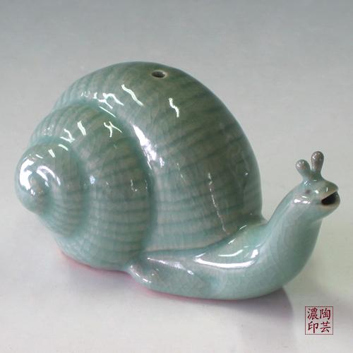 Pottery Snail Figurine Celadon Green Water Dropper